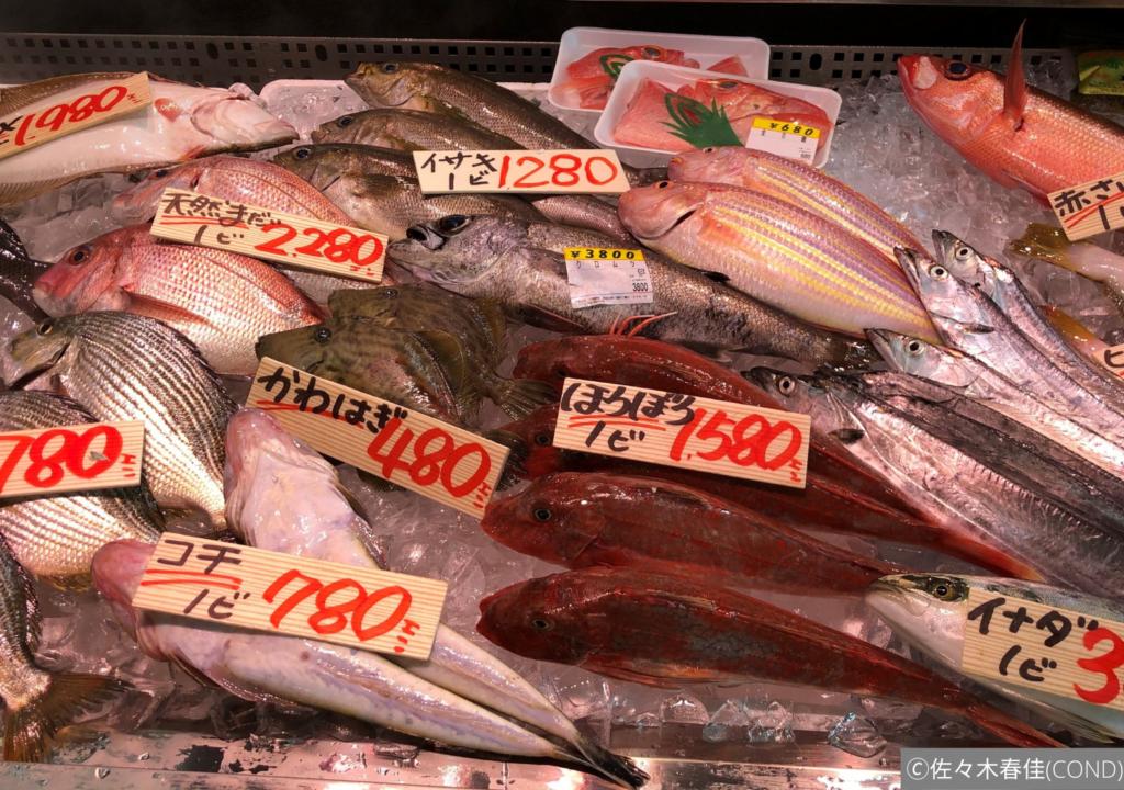 新鮮な魚と値札